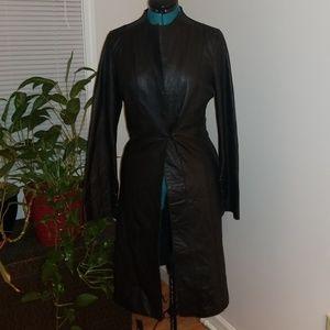 Leather midi jacket